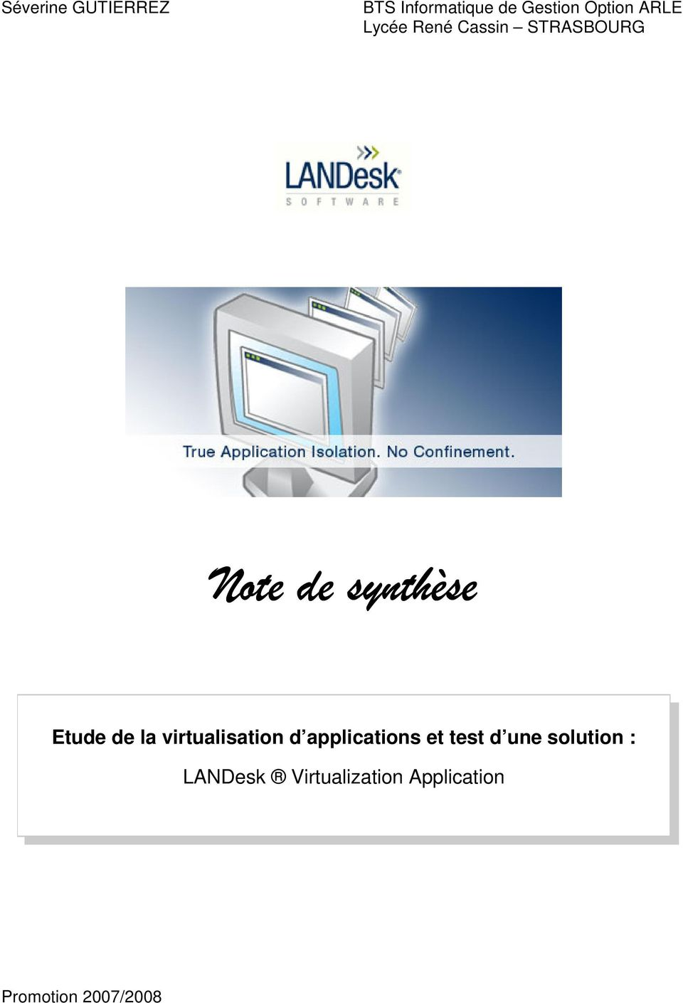 de la virtualisation d applications et test d une