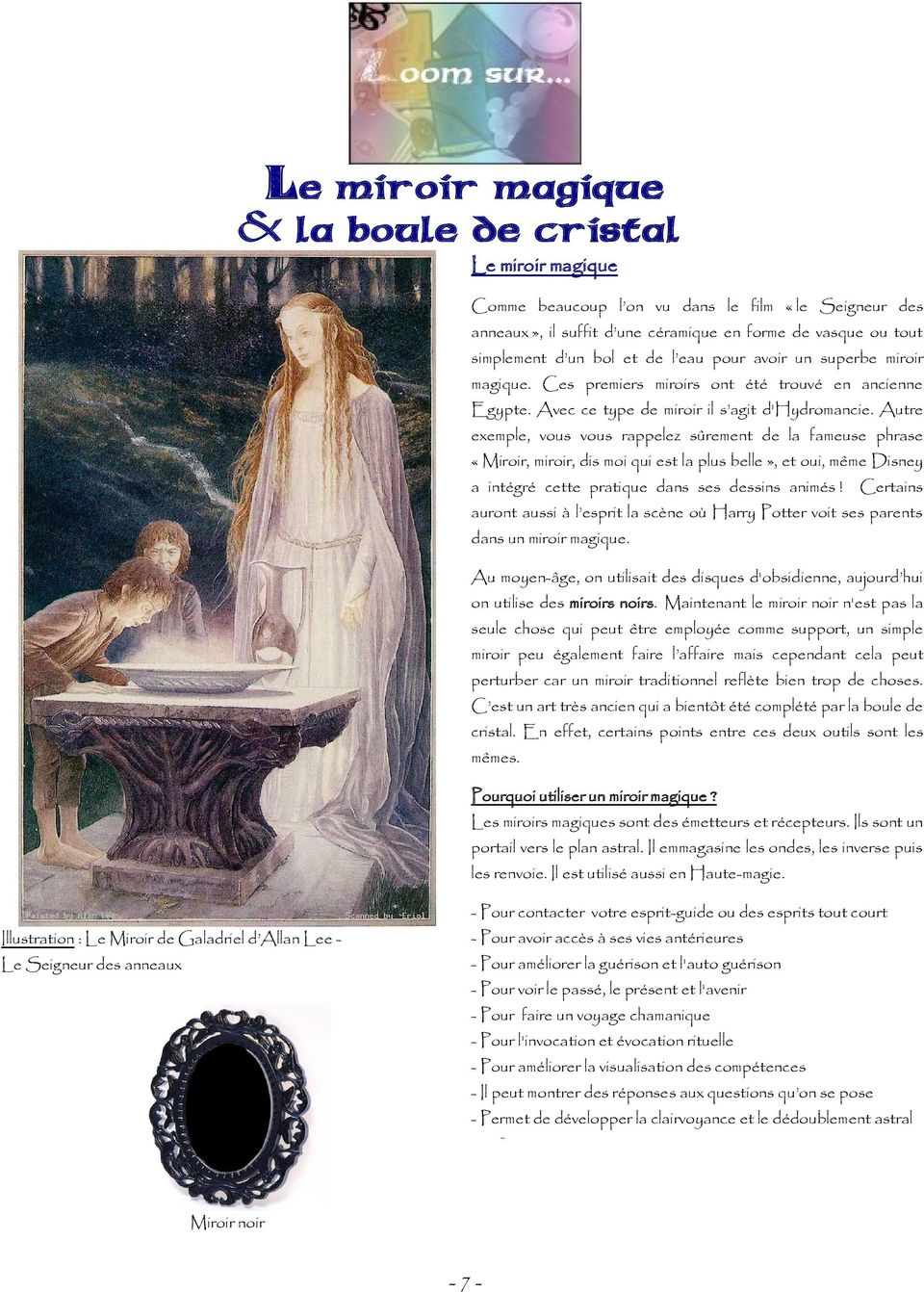 Num ro sp cial divination pdf for Miroir de galadriel