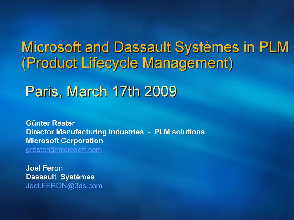 Manufacturing Industries - PLM solutions Microsoft