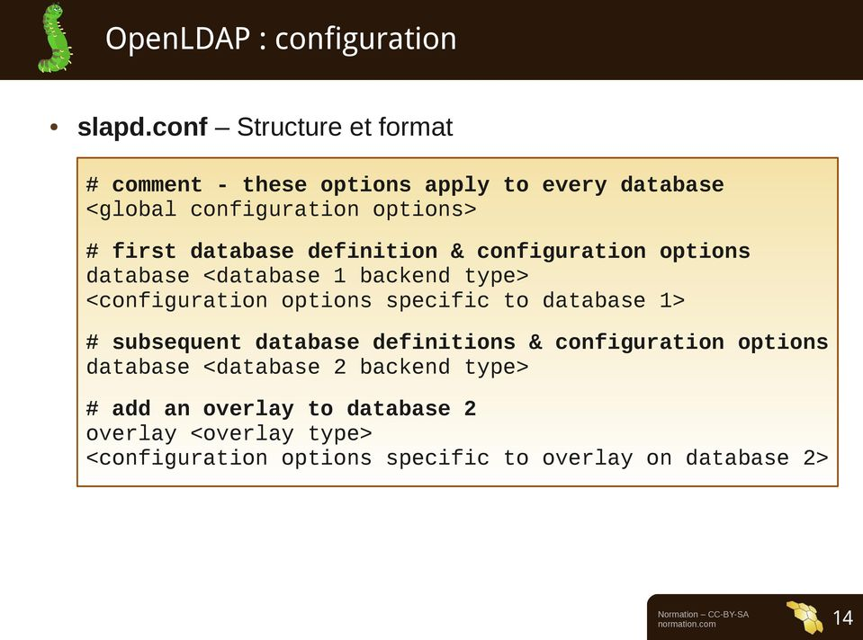 definition & configuration options database <database 1 backend type> <configuration options specific to database 1> #