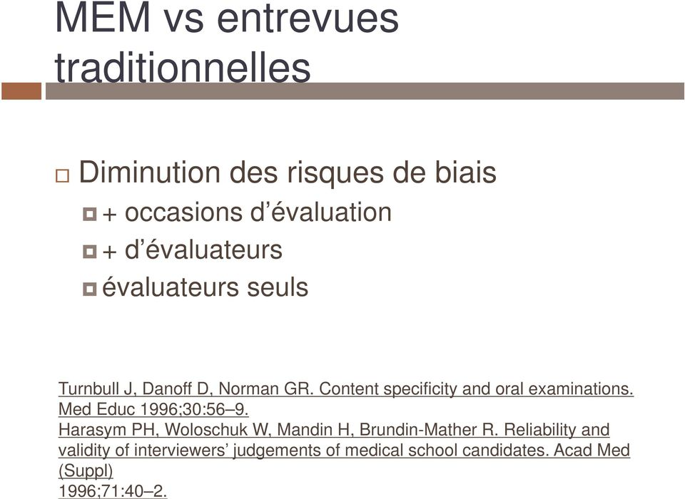 Content specificity and oral examinations. Med Educ 1996;30:56 9.