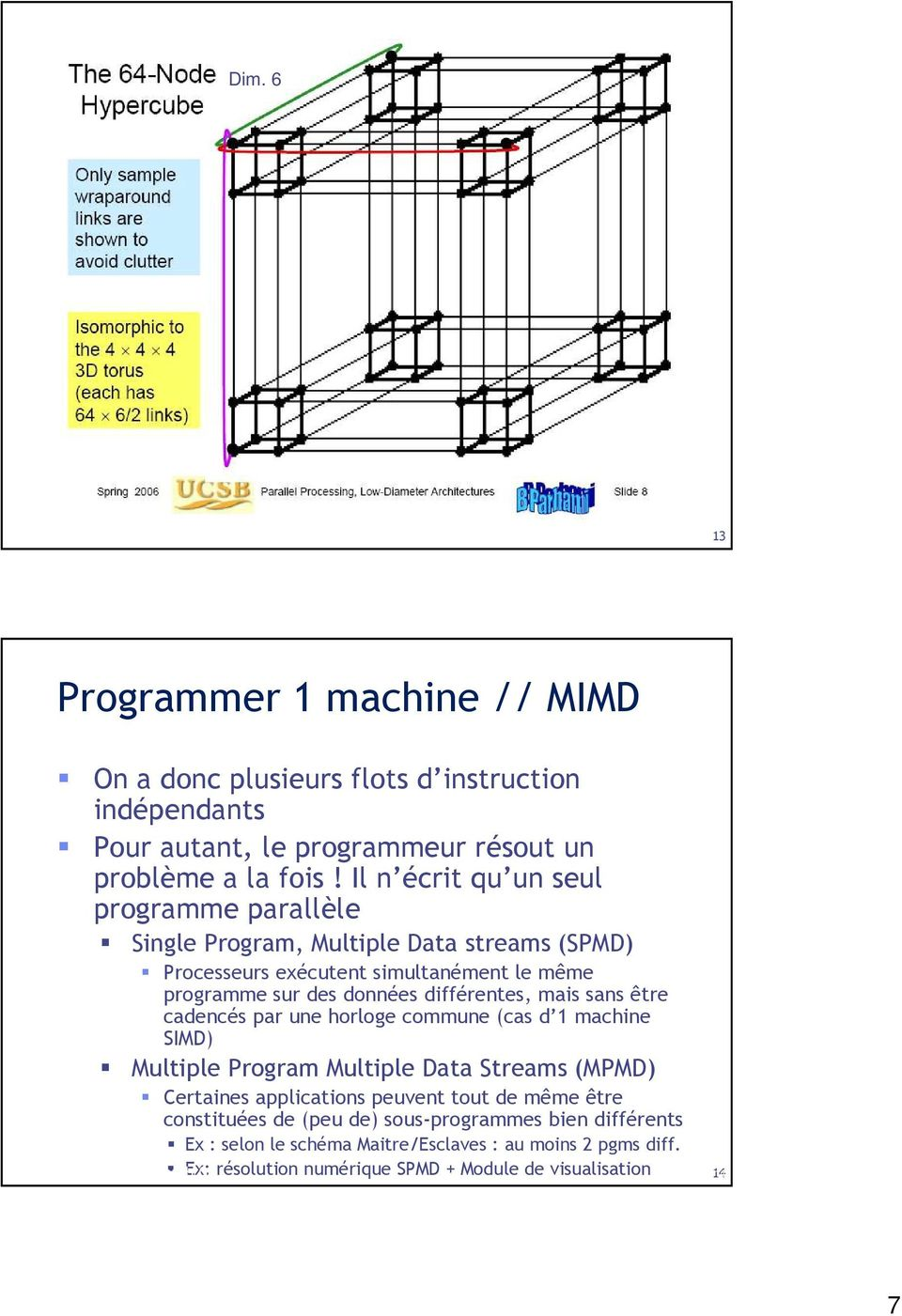 mais sans être cadencés par une horloge commune (cas d 1 machine SIMD) Multiple Program Multiple Data Streams (MPMD) Certaines applications peuvent tout de même être