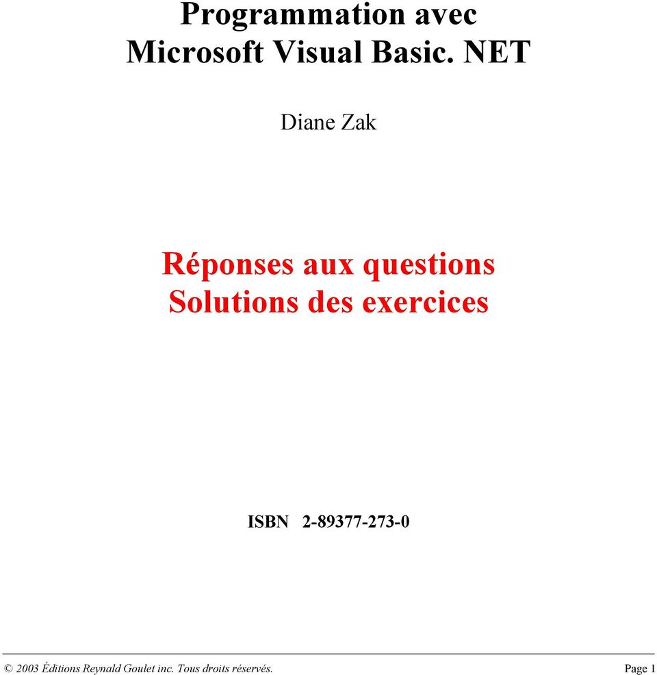 des exercices ISBN 2-89377-273-0 2003 Éditions