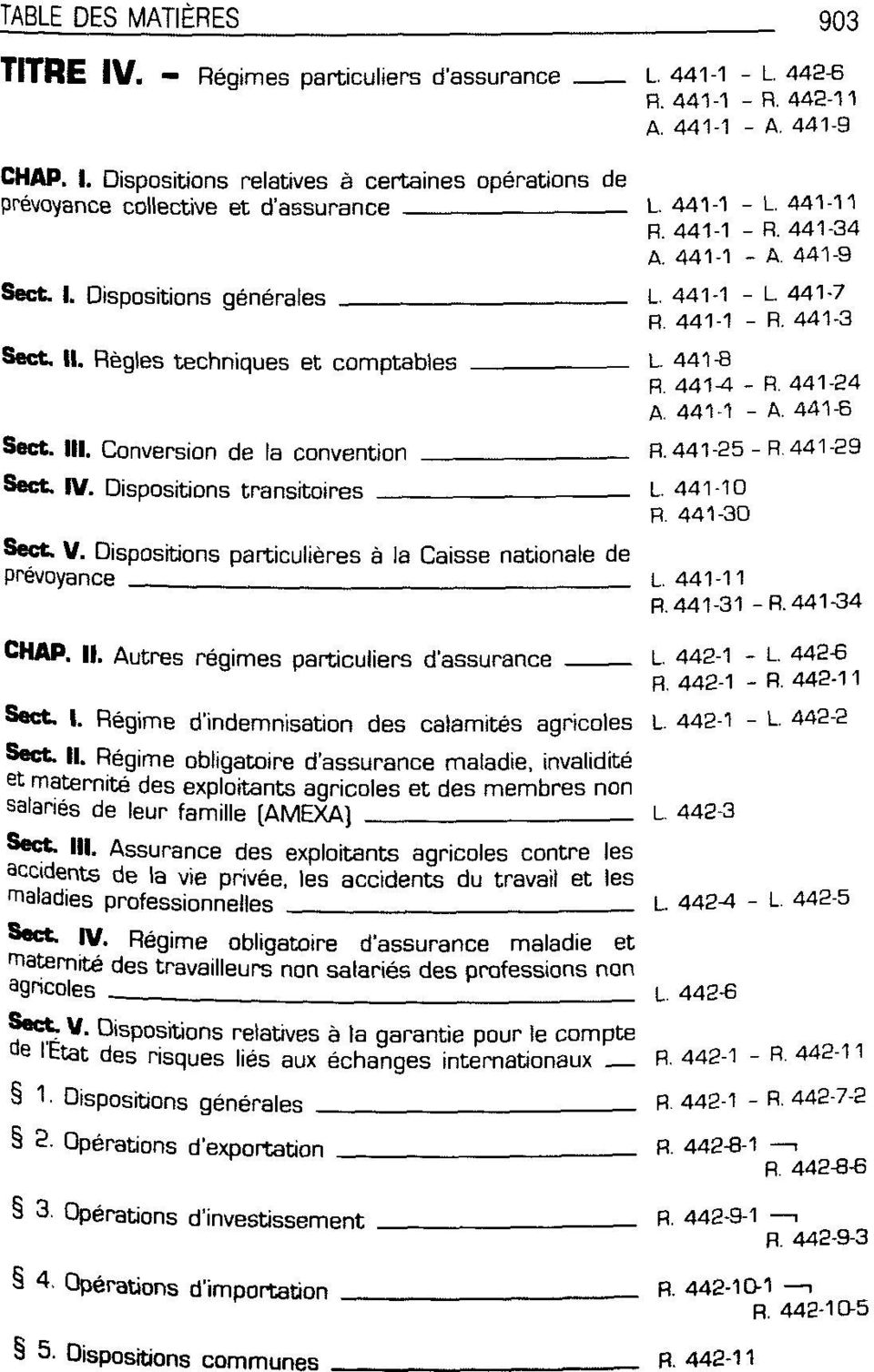 III. Conversion de la Convention R. 441-25 - R. 441-29 Sect IV. Dispositions transitoires L. 441-10 R. 441-30 Sect V. Dispositions particulieres ä la Caisse nationale de prevoyance L. 441-11 R.
