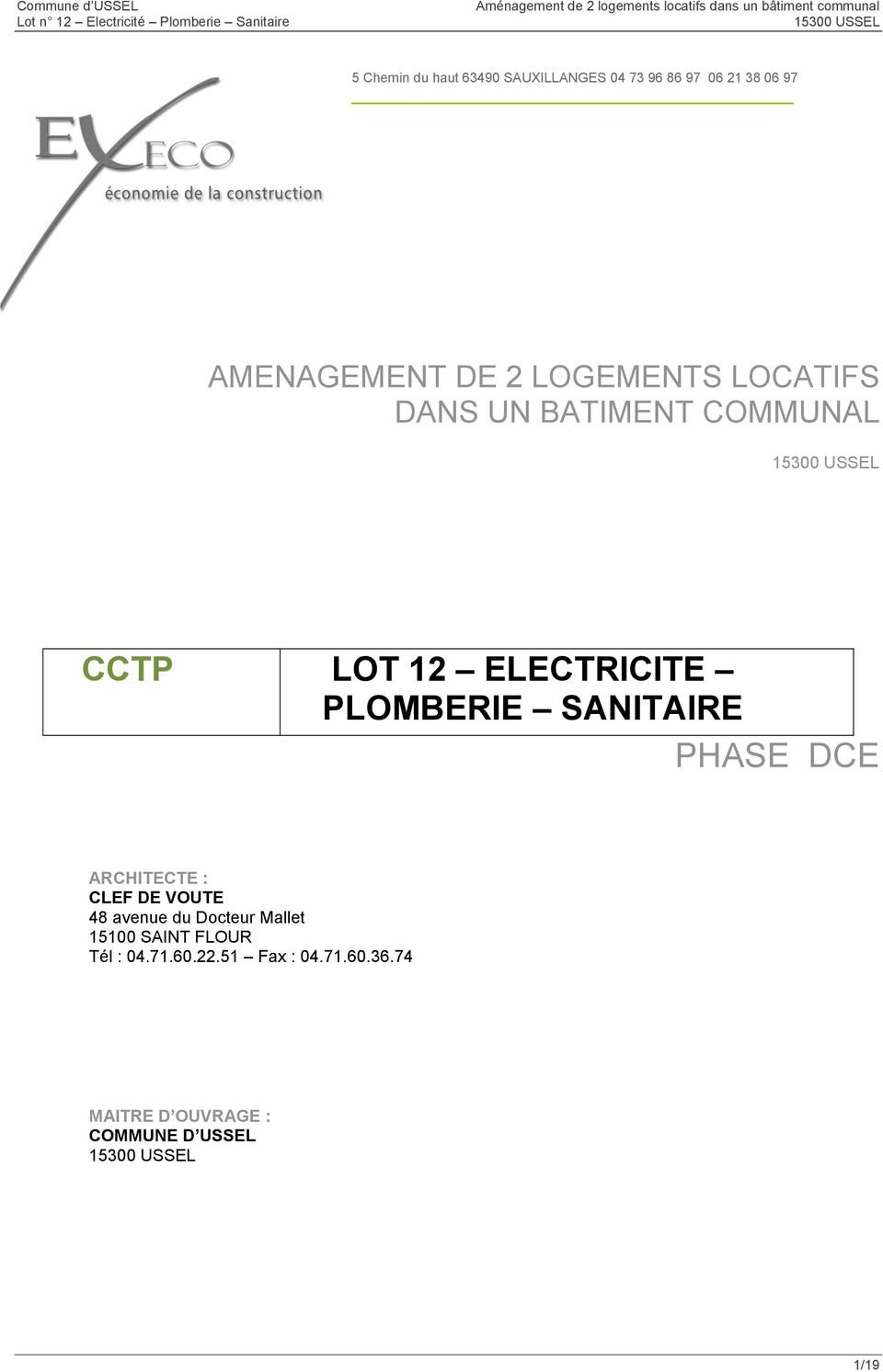 Cctp lot 12 electricite plomberie sanitaire phase dce pdf for Cctp architecte
