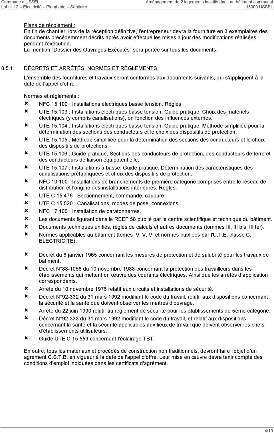 Cctp lot 12 electricite plomberie sanitaire phase dce pdf - Norme nfc 15 100 pdf ...