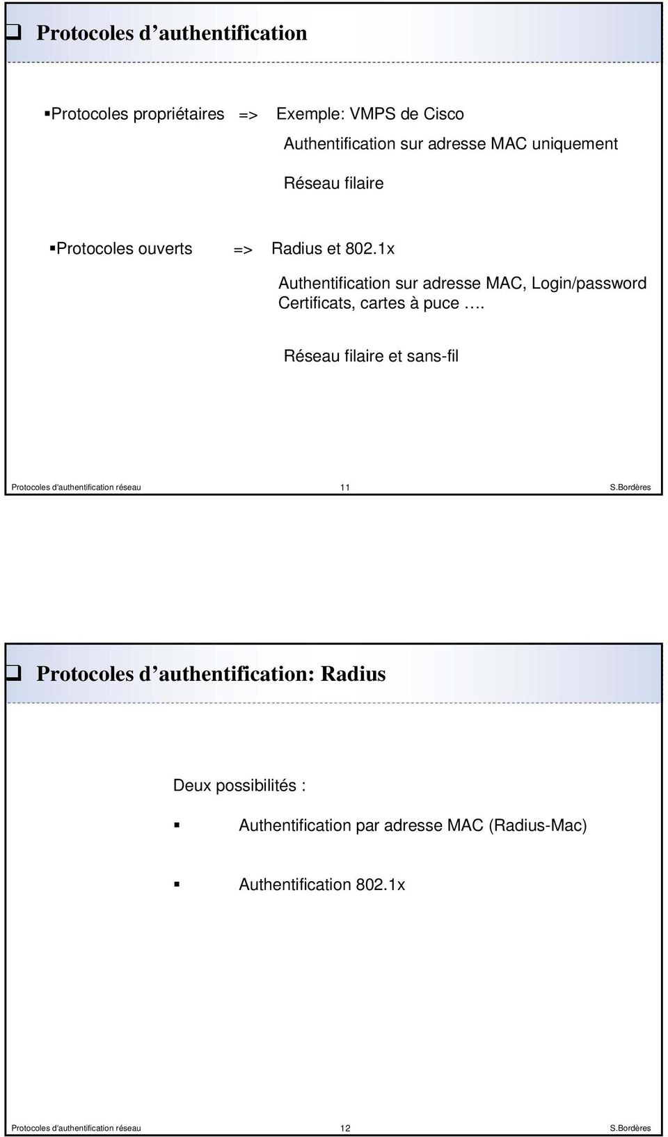 1x Authentification sur adresse MAC, Login/password Certificats, cartes à puce.