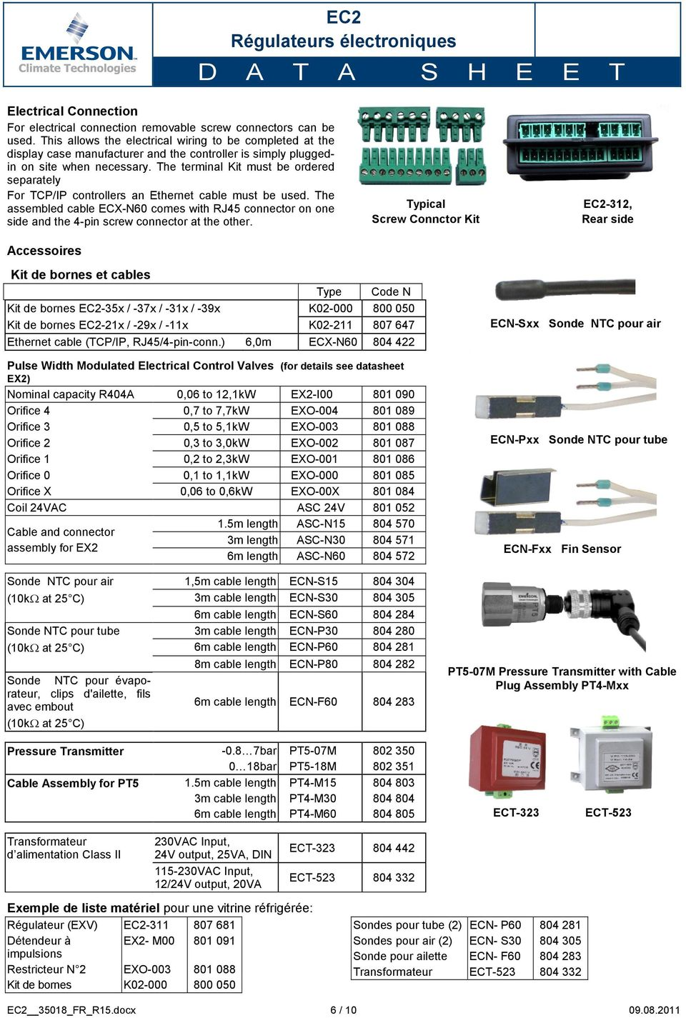 The terminal Kit must be ordered separately For TCP/IP controllers an Ethernet cable must be used.