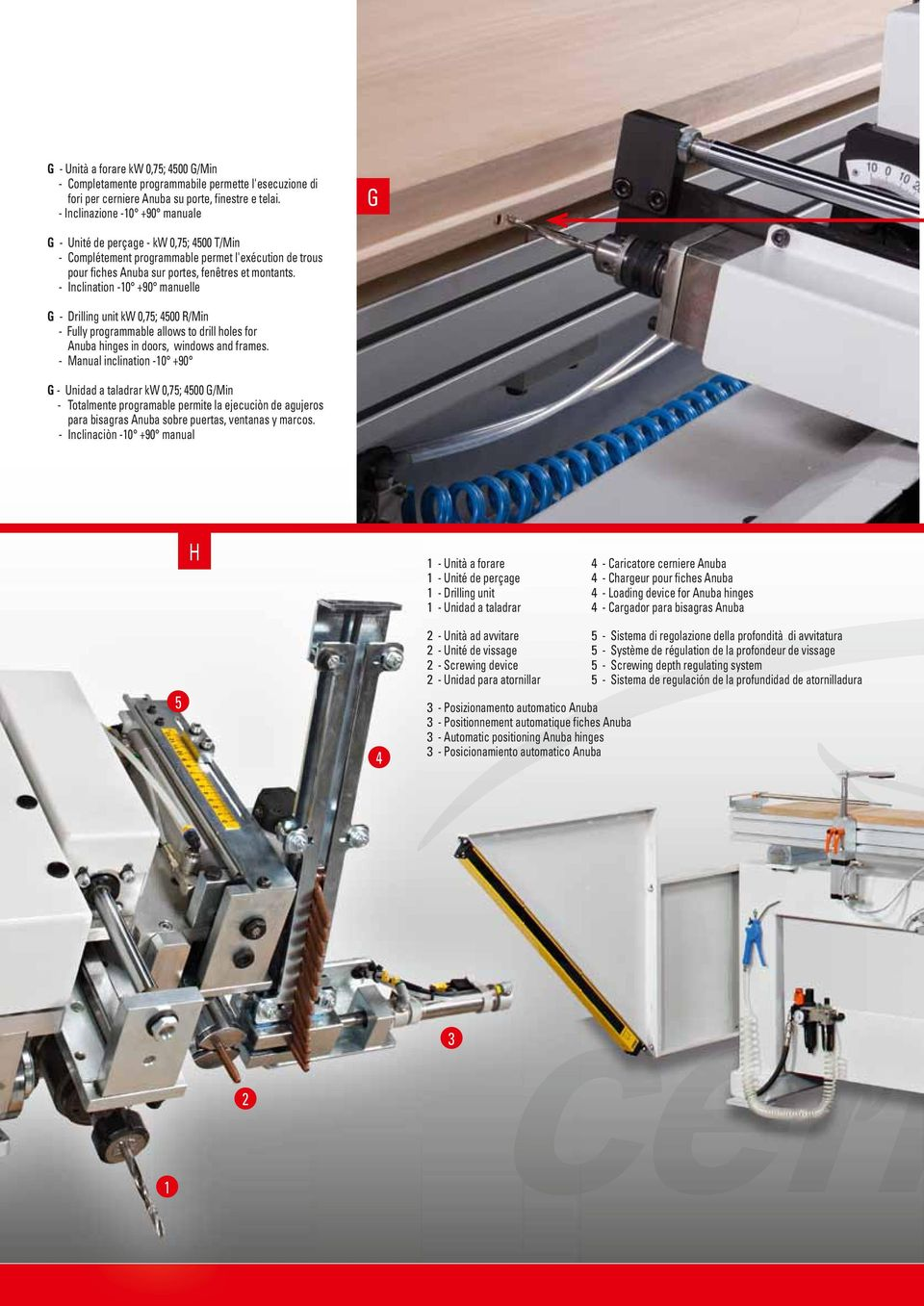 - Inclination -10 +90 manuelle G - Drilling unit kw 0,75; 4500 R/Min - Fully programmable allows to drill holes for Anuba hinges in doors, windows and frames.