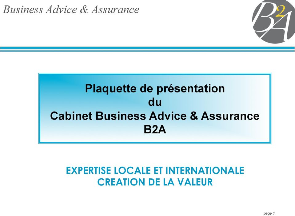Advice & Assurance B2A EXPERTISE LOCALE