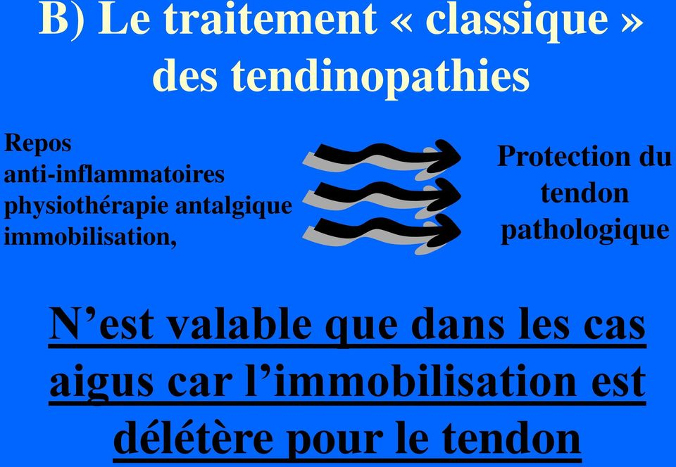 immobilisation, Protection du tendon pathologique N est