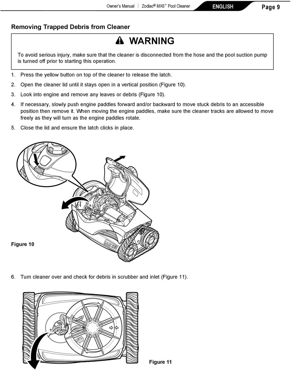 Open the cleaner lid until it stays open in a vertical position (Figure 10). 3. Look into engine and remove any leaves or debris (Figure 10). 4.