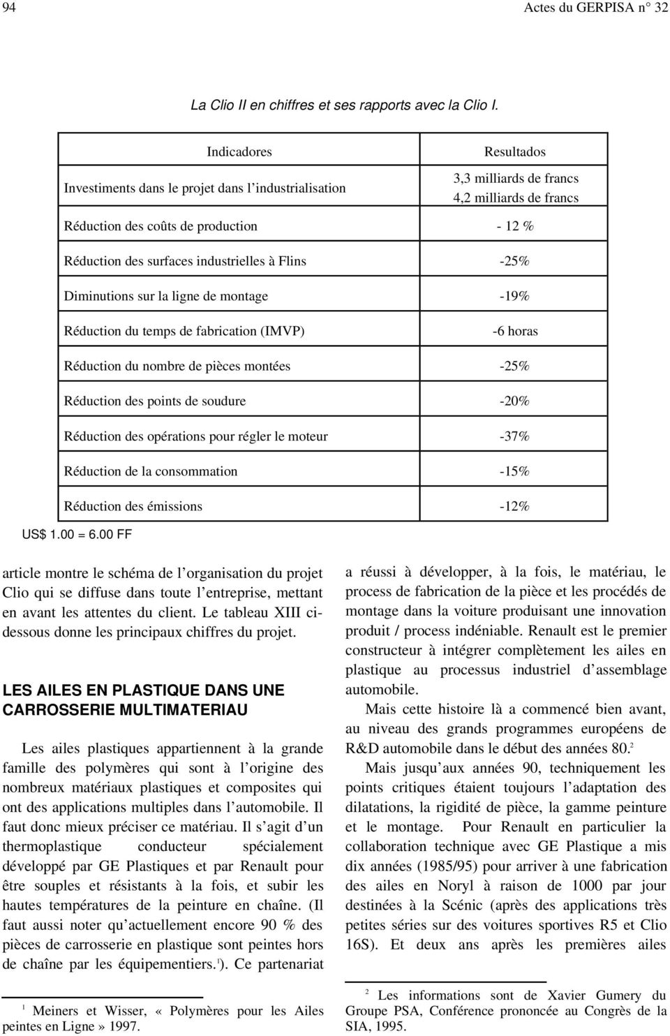 industrielles à Flins -25% Diminutions sur la ligne de montage -19% Réduction du temps de fabrication (IMVP) -6 horas Réduction du nombre de pièces montées -25% Réduction des points de soudure -20%