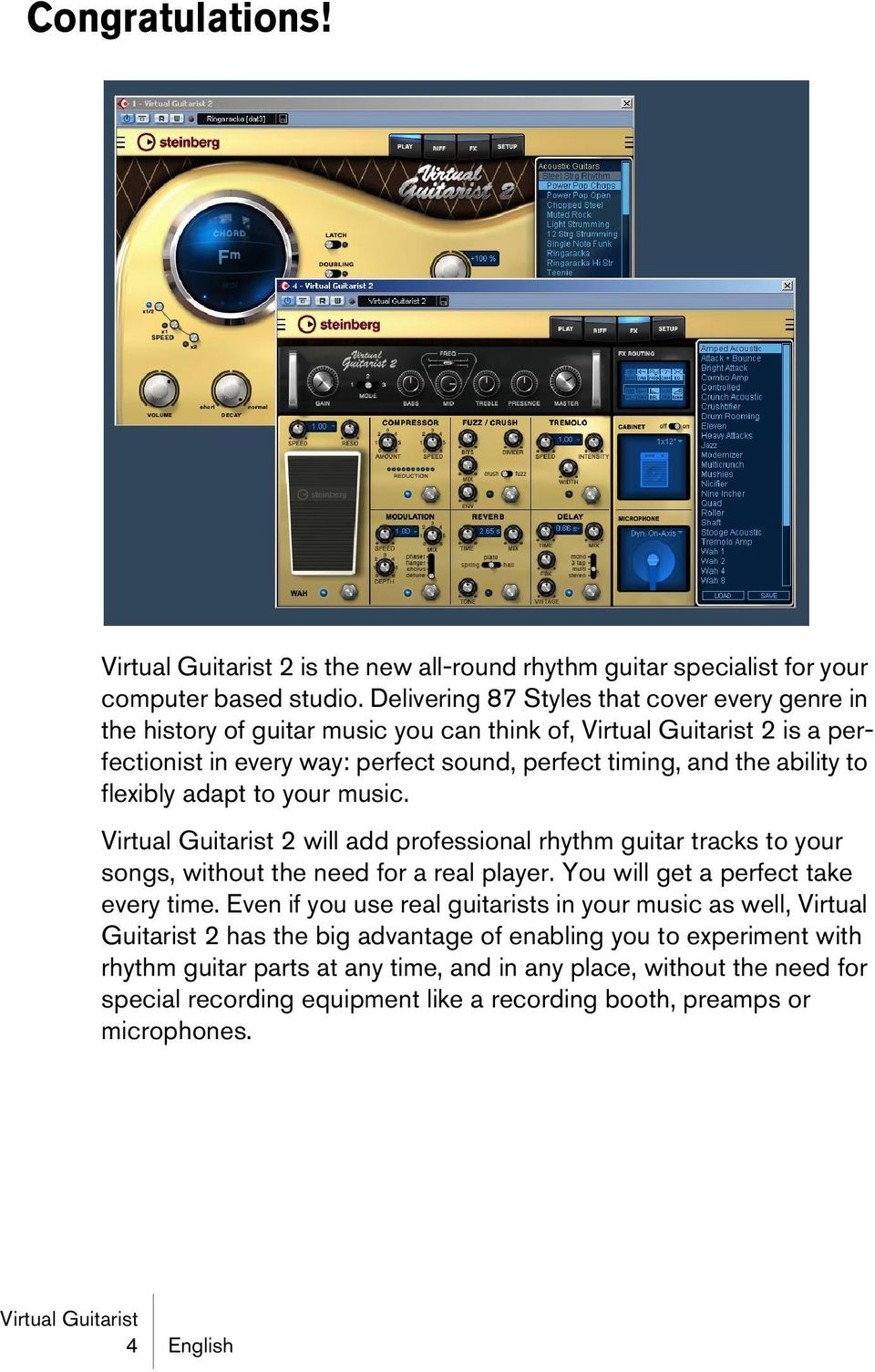 flexibly adapt to your music. 2 will add professional rhythm guitar tracks to your songs, without the need for a real player. You will get a perfect take every time.
