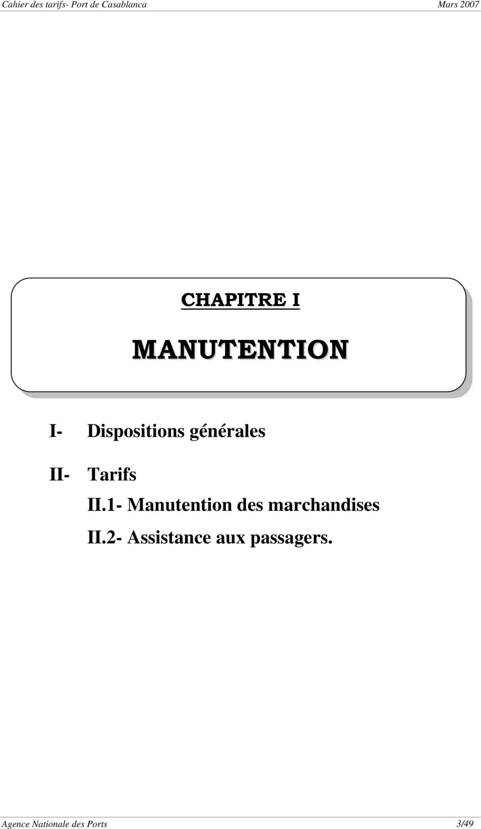 1- Manutention des marchandises II.
