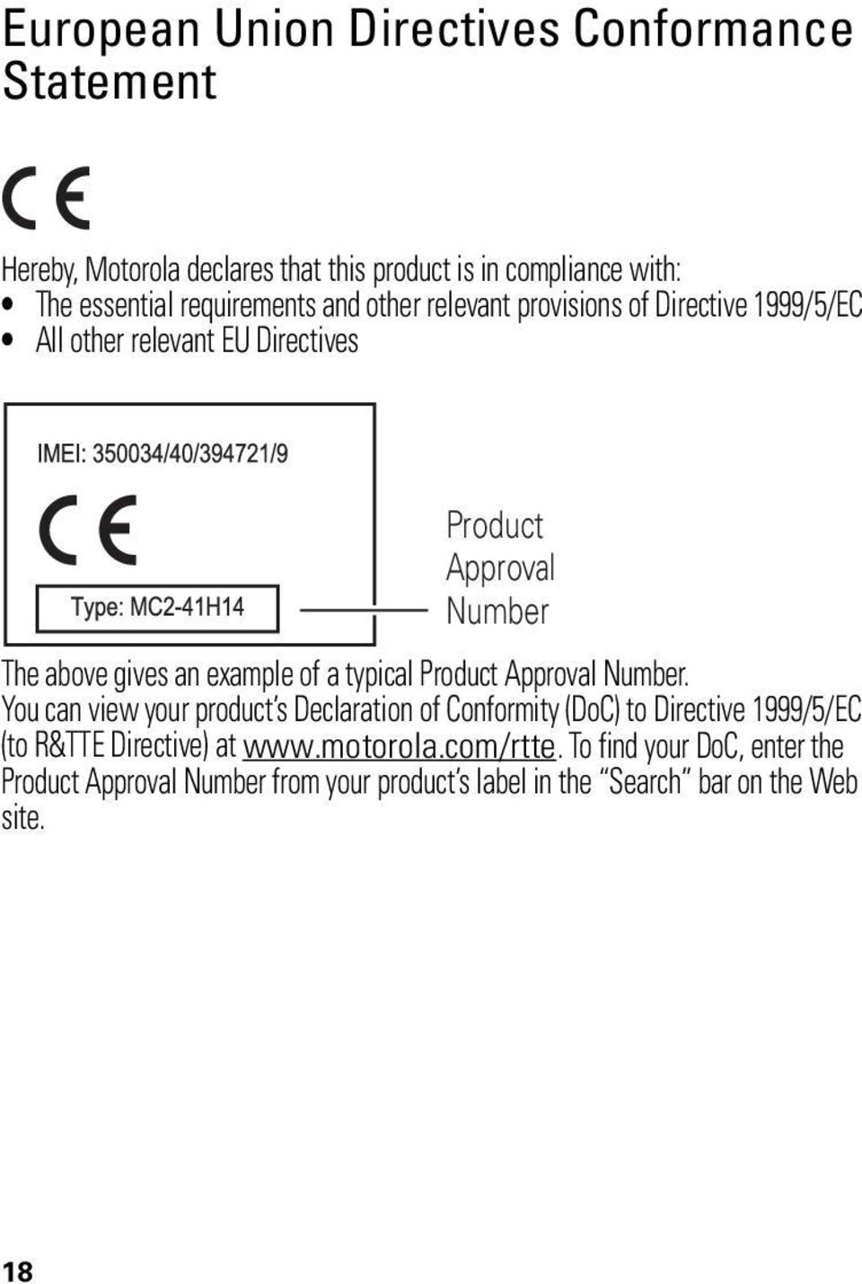 example of a typical Product Approval Number.