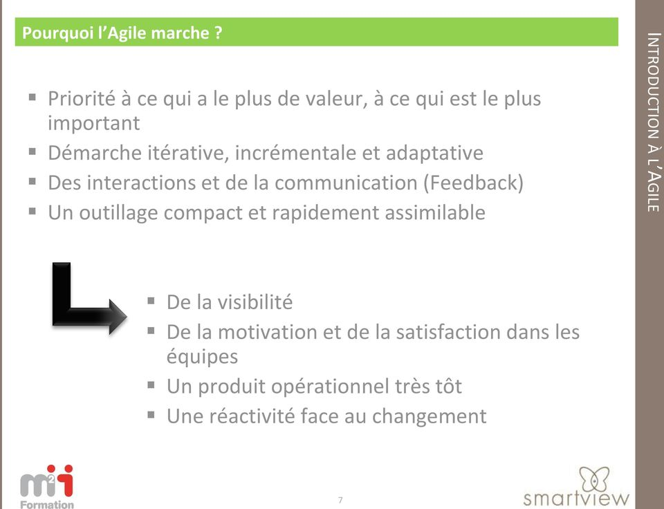 incrémentale et adaptative Des interactions et de la communication (Feedback) Un outillage