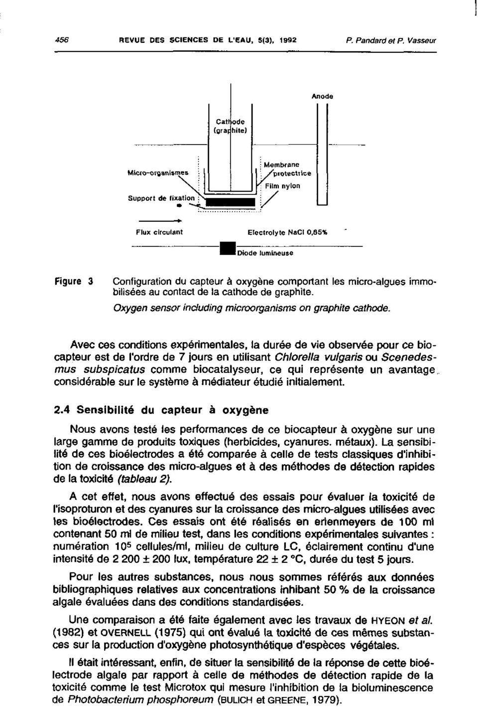 immobilisées au contact de la cathode de graphite. Oxygen sensor induding microorganisms on graphite cathode.