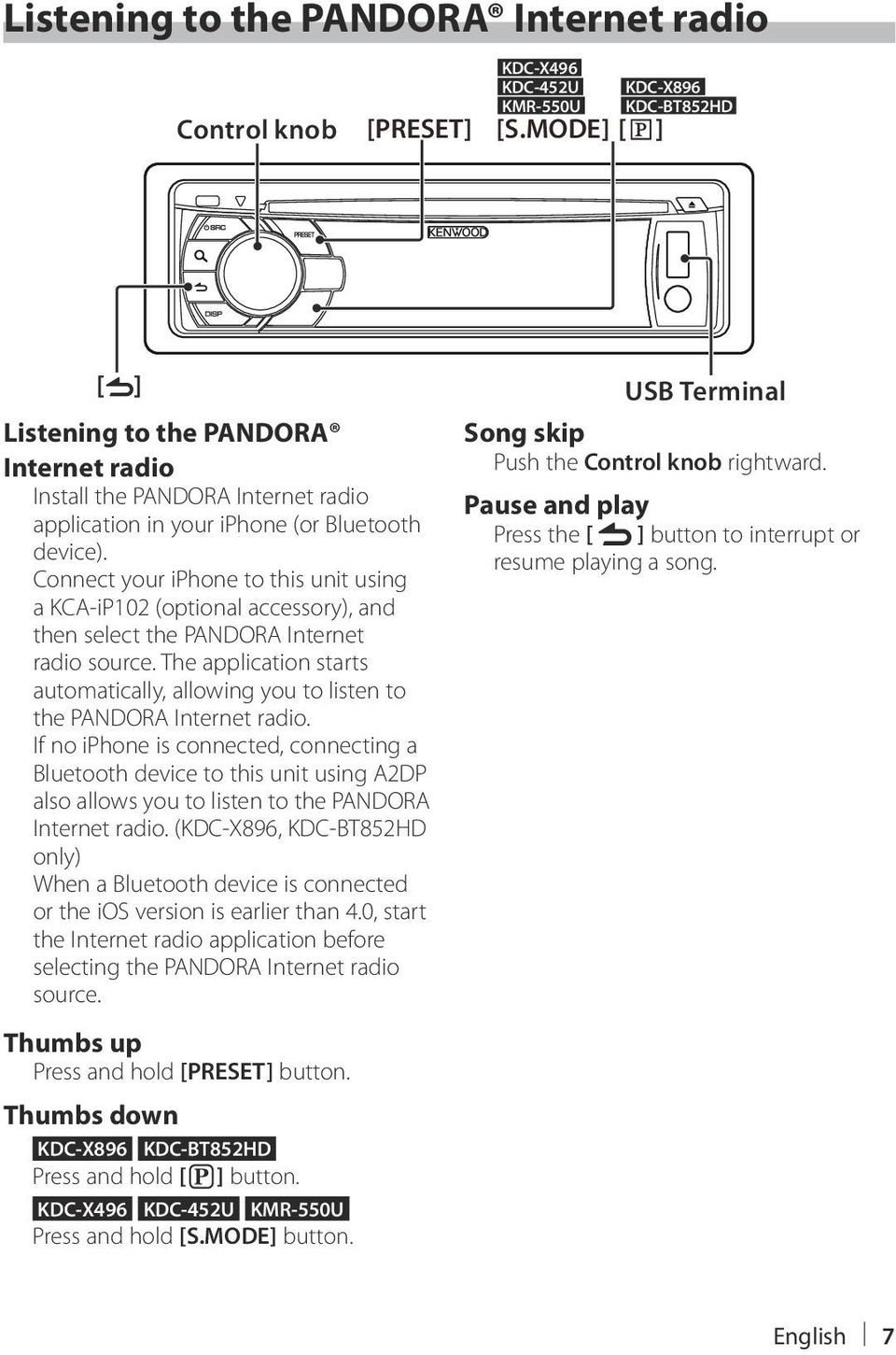 Connect your iphone to this unit using a KCA-iP102 (optional accessory), and then select the PANDORA Internet radio source.