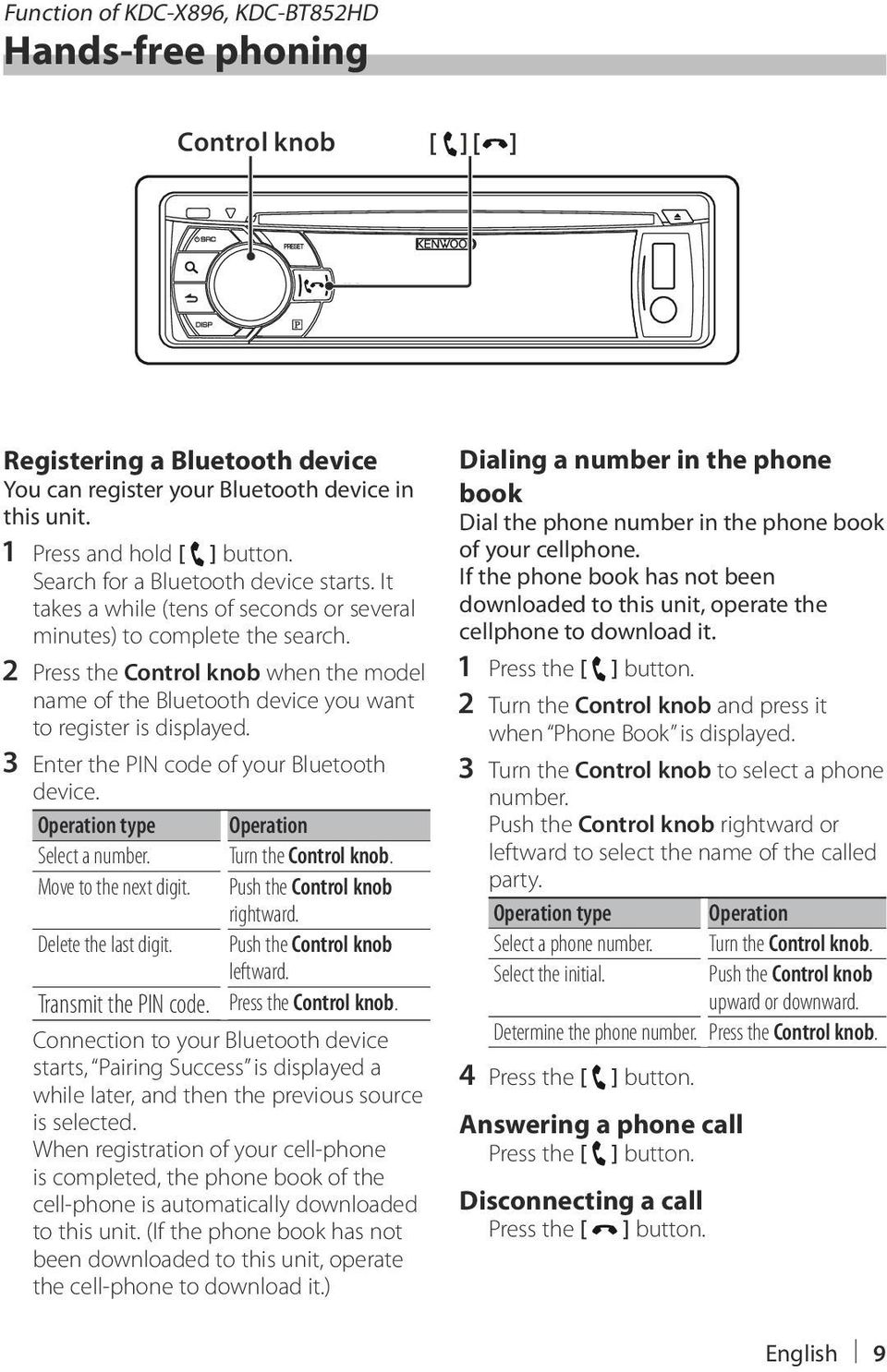 2 Press the Control knob when the model name of the Bluetooth device you want to register is displayed. 3 Enter the PIN code of your Bluetooth device. Operation type Operation Select a number.