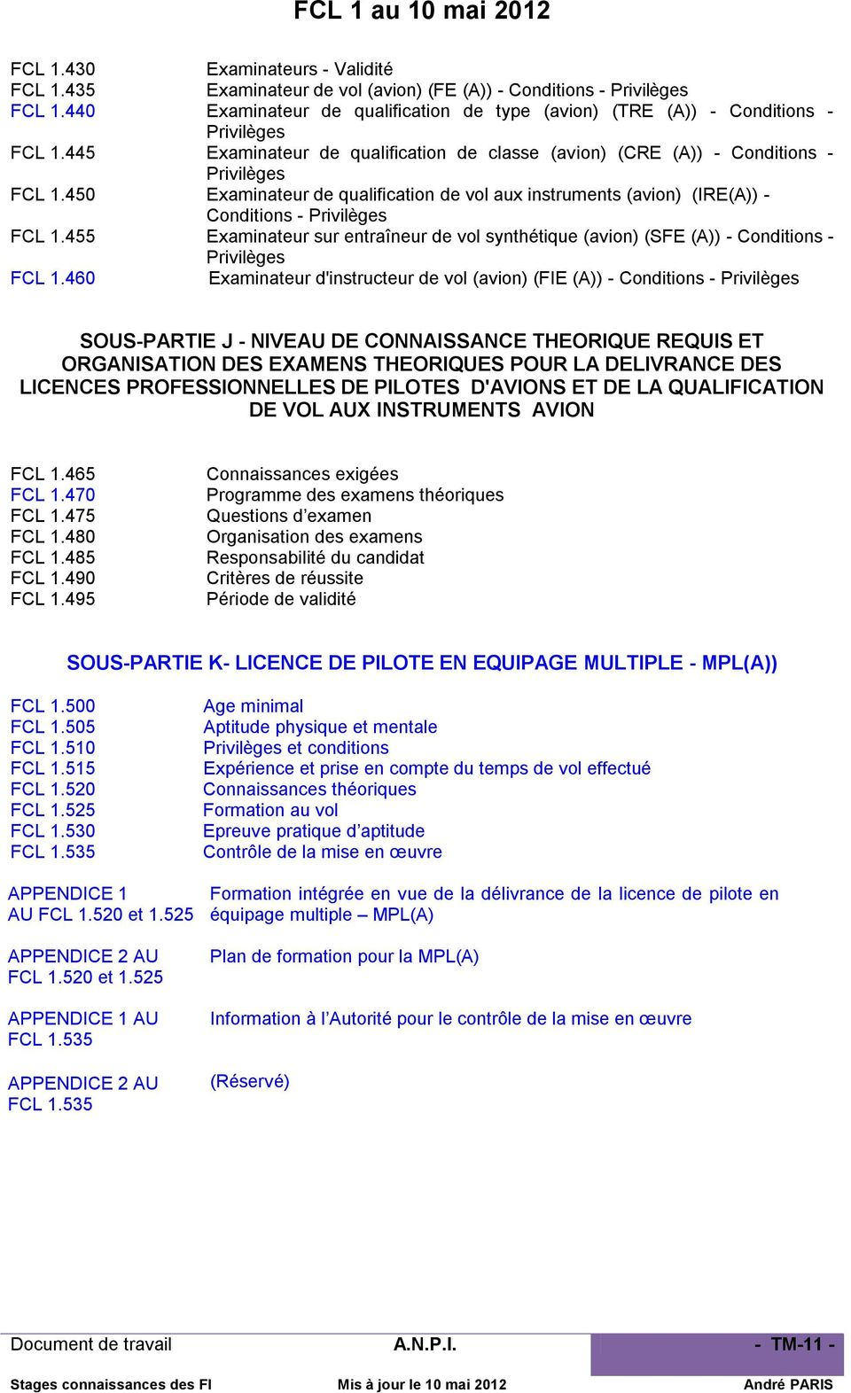450 Examinateur de qualification de vol aux instruments (avion) (IRE(A)) - Conditions - Privilèges FCL 1.