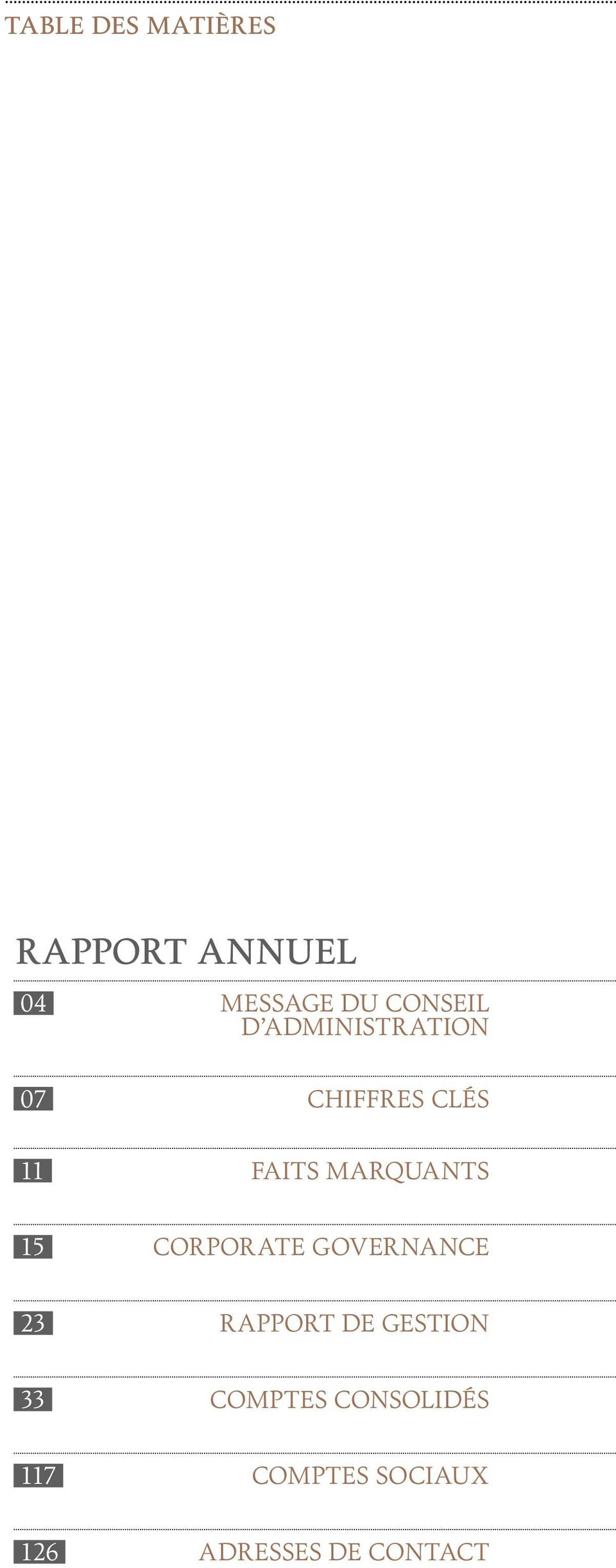 marquants 15 Corporate governance 23 RAPPORT DE