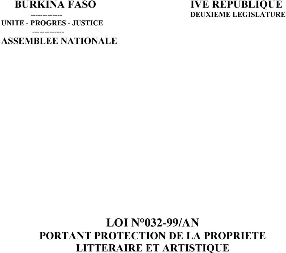 ------------- ASSEMBLEE NATIONALE LOI N 032-99/AN