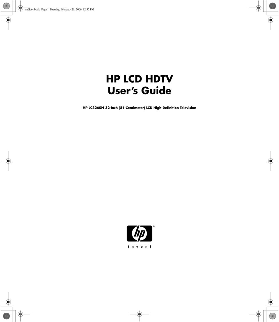 2006 12:35 PM HP LCD HDTV User s