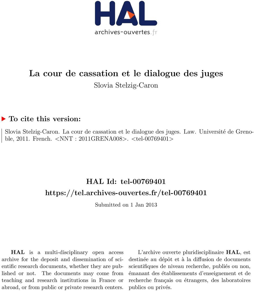 fr/tel-00769401 Submitted on 1 Jan 2013 HAL is a multi-disciplinary open access archive for the deposit and dissemination of scientific research documents, whether they are published or not.