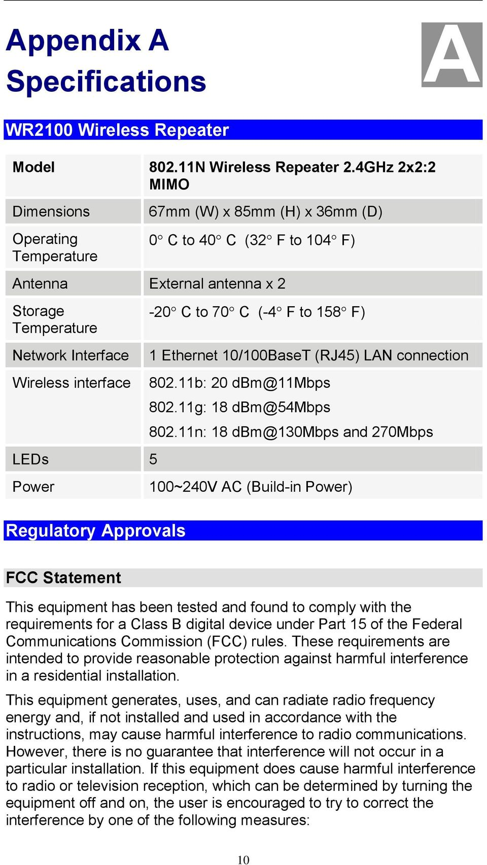 5 Power Regulatory Approvals -20 C to 70 C (-4 F to 158 F) 1 Ethernet 10/100BaseT (RJ45) LAN connection 802.11b: 20 dbm@11mbps 802.11g: 18 dbm@54mbps 802.