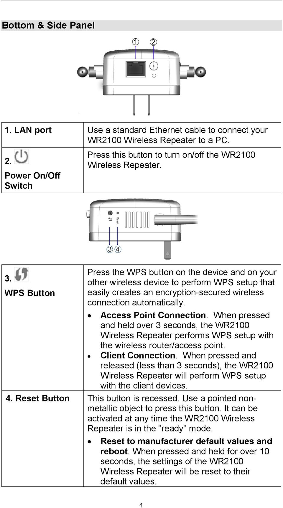 Access Point Connection. When pressed and held over 3 seconds, the WR2100 Wireless Repeater performs WPS setup with the wireless router/access point. Client Connection.