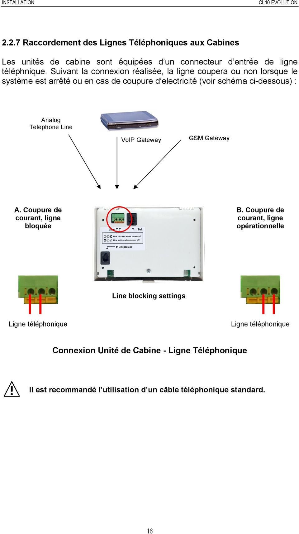 Analog Telephone Line VoIP Gateway GSM Gateway A. Coupure de courant, ligne bloquée B.