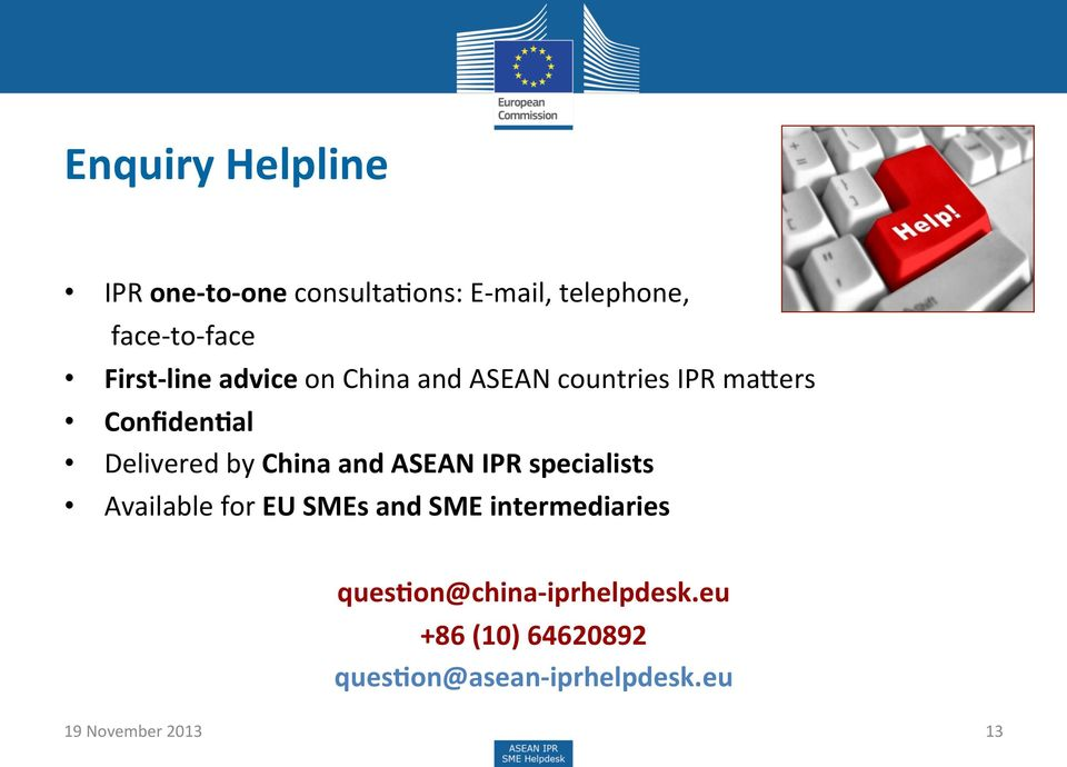 China and ASEAN IPR specialists Available for EU SMEs and SME intermediaries