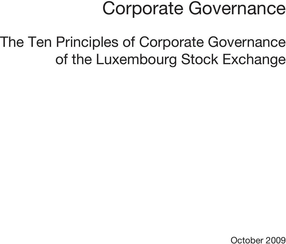 Governance The Ten Principles of Corporate