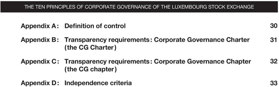 Governance Charter ( the CG Charter ) Appendix C : Transparency requirements :