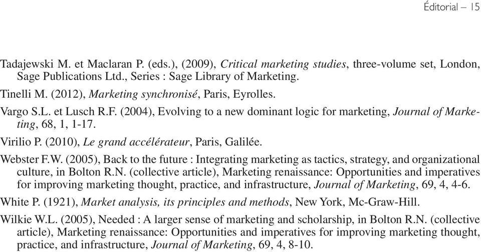 (2010), Le grand accélérateur, Paris, Galilée. Webster F.W. (2005), Back to the future : Integrating marketing as tactics, strategy, and organizational culture, in Bolton R.N.
