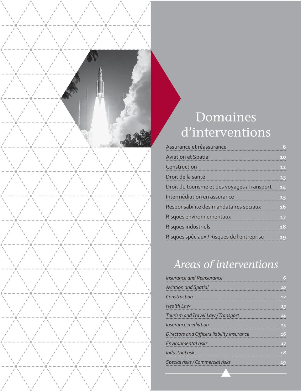 / Risques de l entreprise 19 Areas of interventions Insurance and Reinsurance 6 Aviation and Spatial 10 Construction 12 Health Law 13 Tourism and Travel