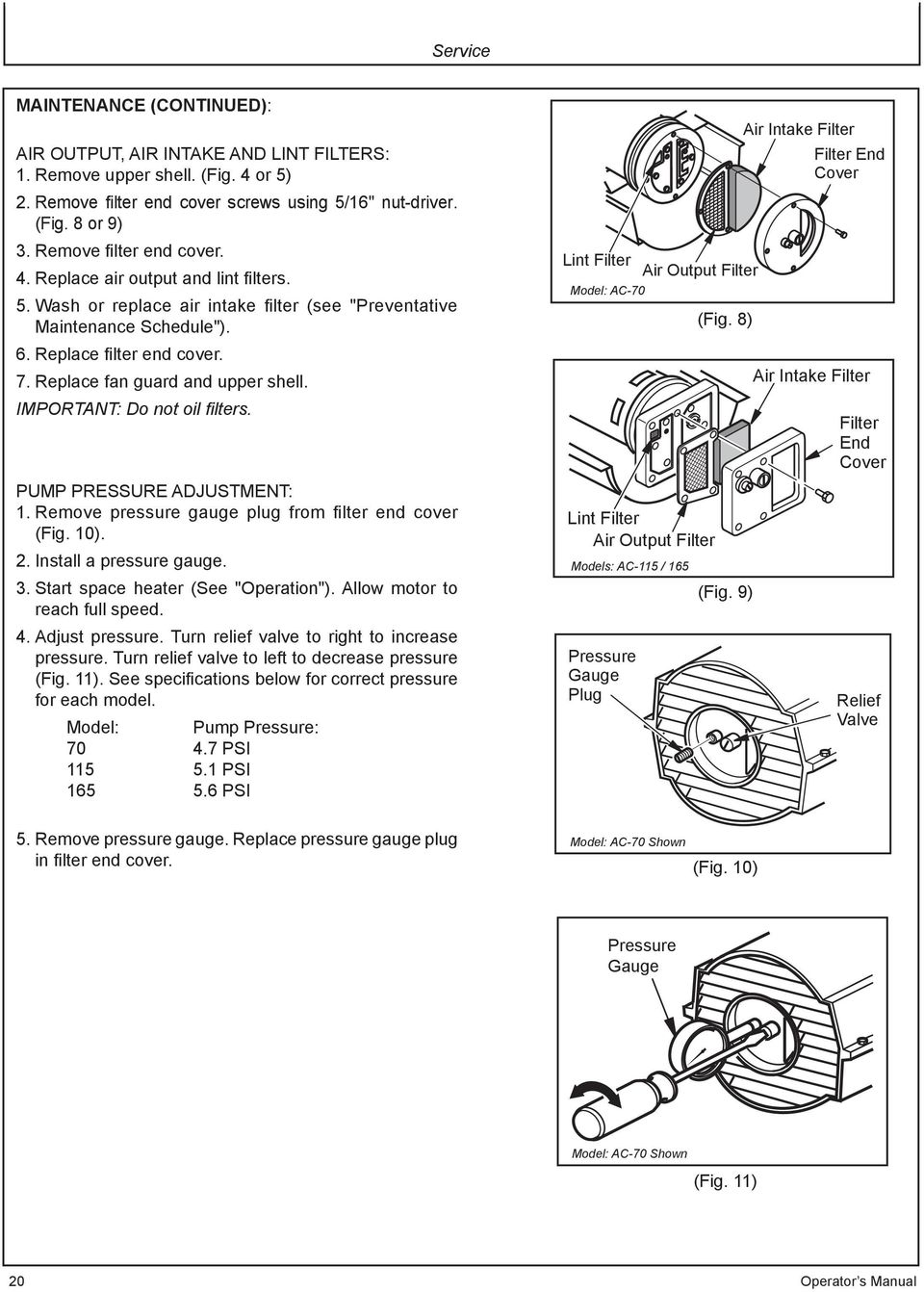 Replace fan guard and upper shell. IMPORTANT: Do not oil filters. PUMP PRESSURE ADJUSTMENT: 1. Remove pressure gauge plug from filter end cover (Fig. 10). 2. Install a pressure gauge. 3.