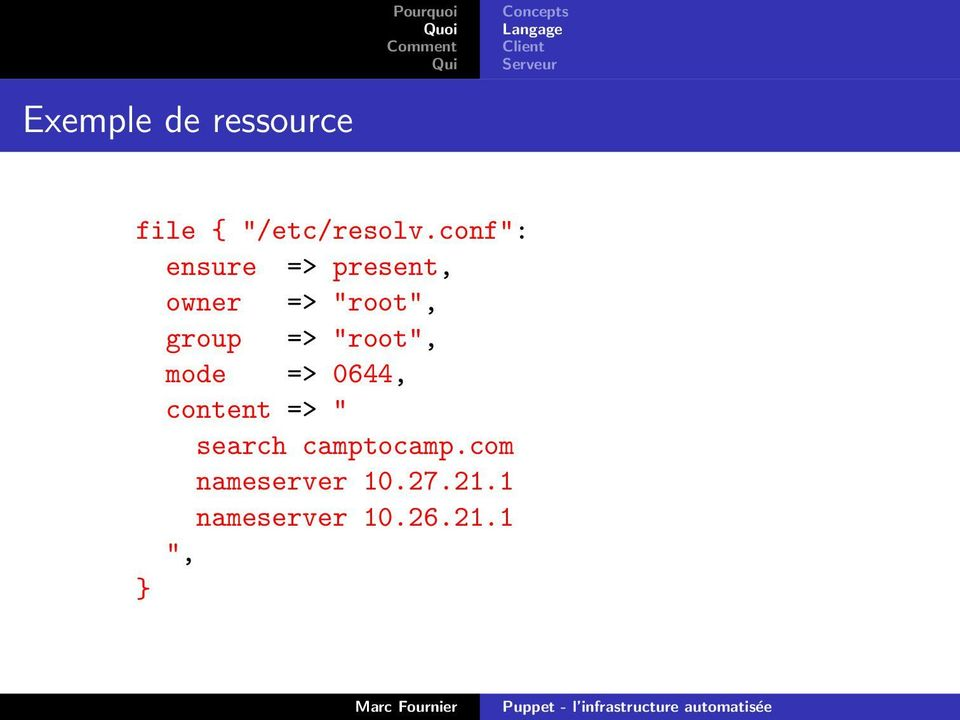 "conf"": ensure => present, owner => ""root"", group =>"