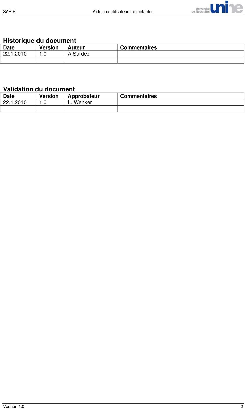 Surdez Validation du document Date Version