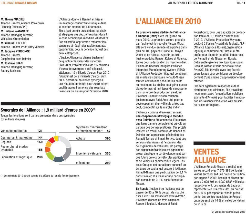 Toshiaki OTANI Alliance Managing Director, Battery Business L'Alliance donne à Renault et Nissan un avantage concurrentiel unique dans le secteur mondial de l'automobile.
