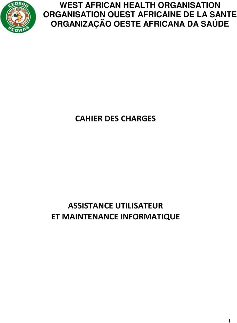 AFRICANA DA SAÚDE CAHIER DES CHARGES