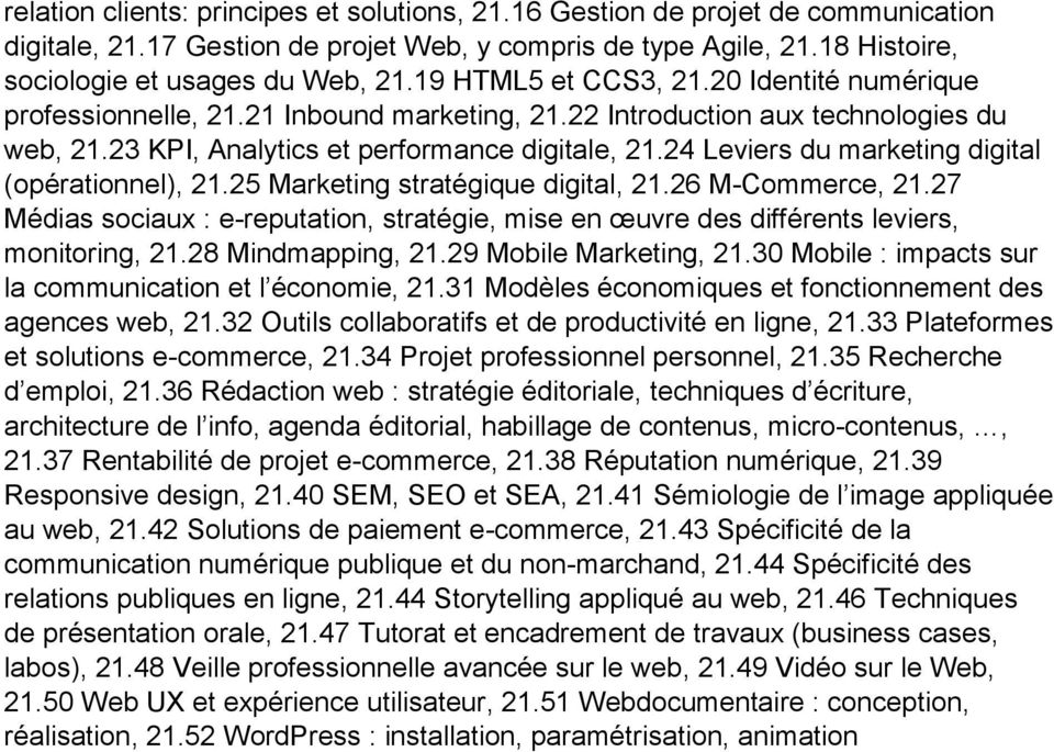 24 Leviers du marketing digital (opérationnel), 21.25 Marketing stratégique digital, 21.26 M-Commerce, 21.