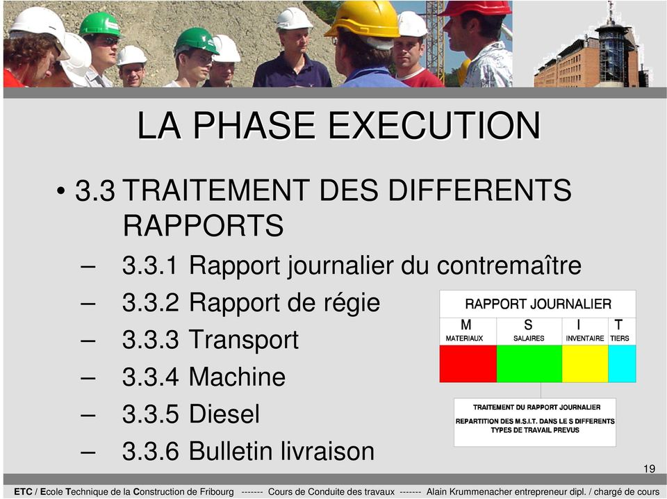 3.2 Rapport de régie 3.3.3 Transport 3.3.4 Machine 3.
