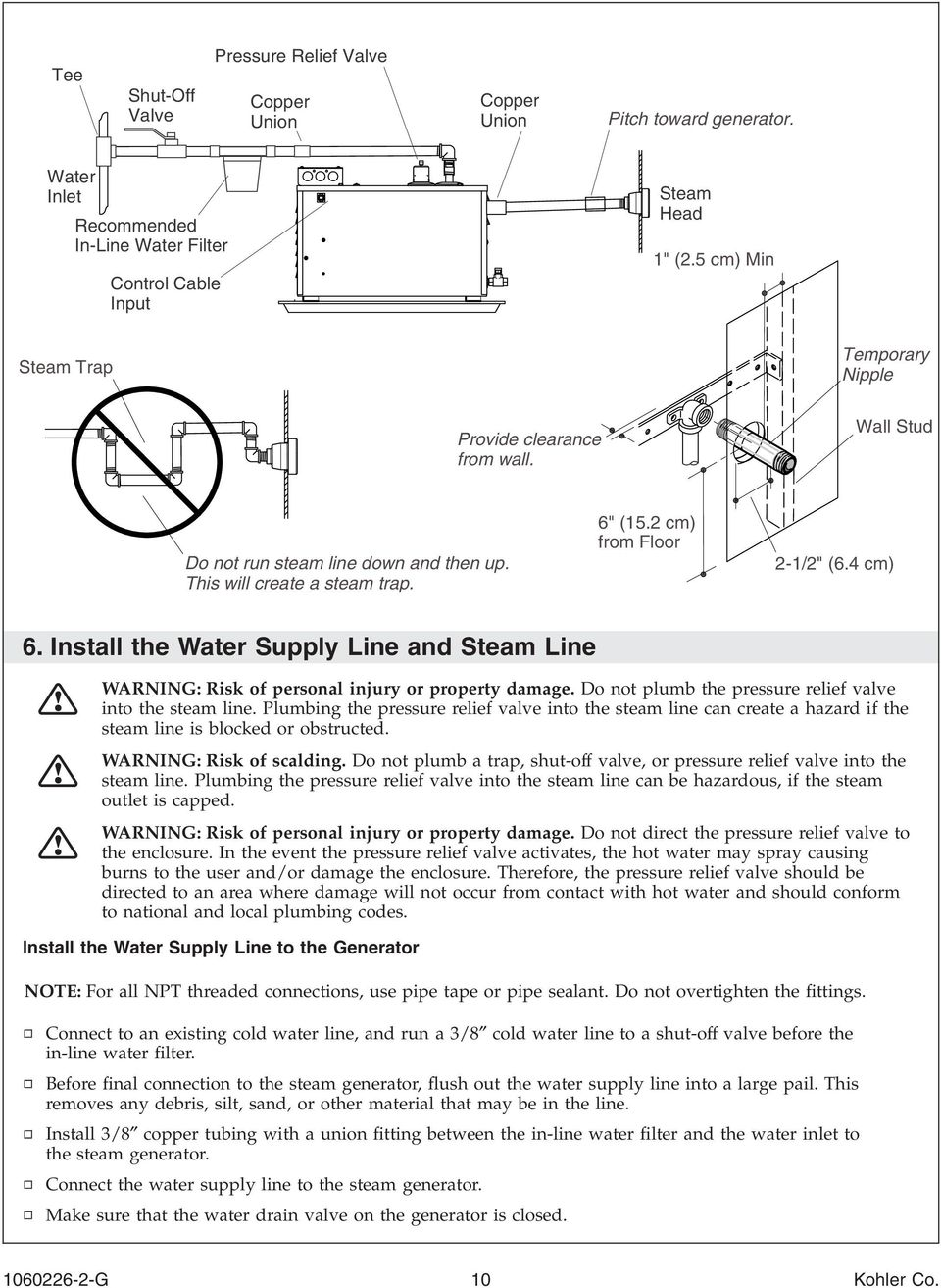 Install the Water Supply Line and Steam Line WARNING: Risk of personal injury or property damage. Do not plumb the pressure relief valve into the steam line.