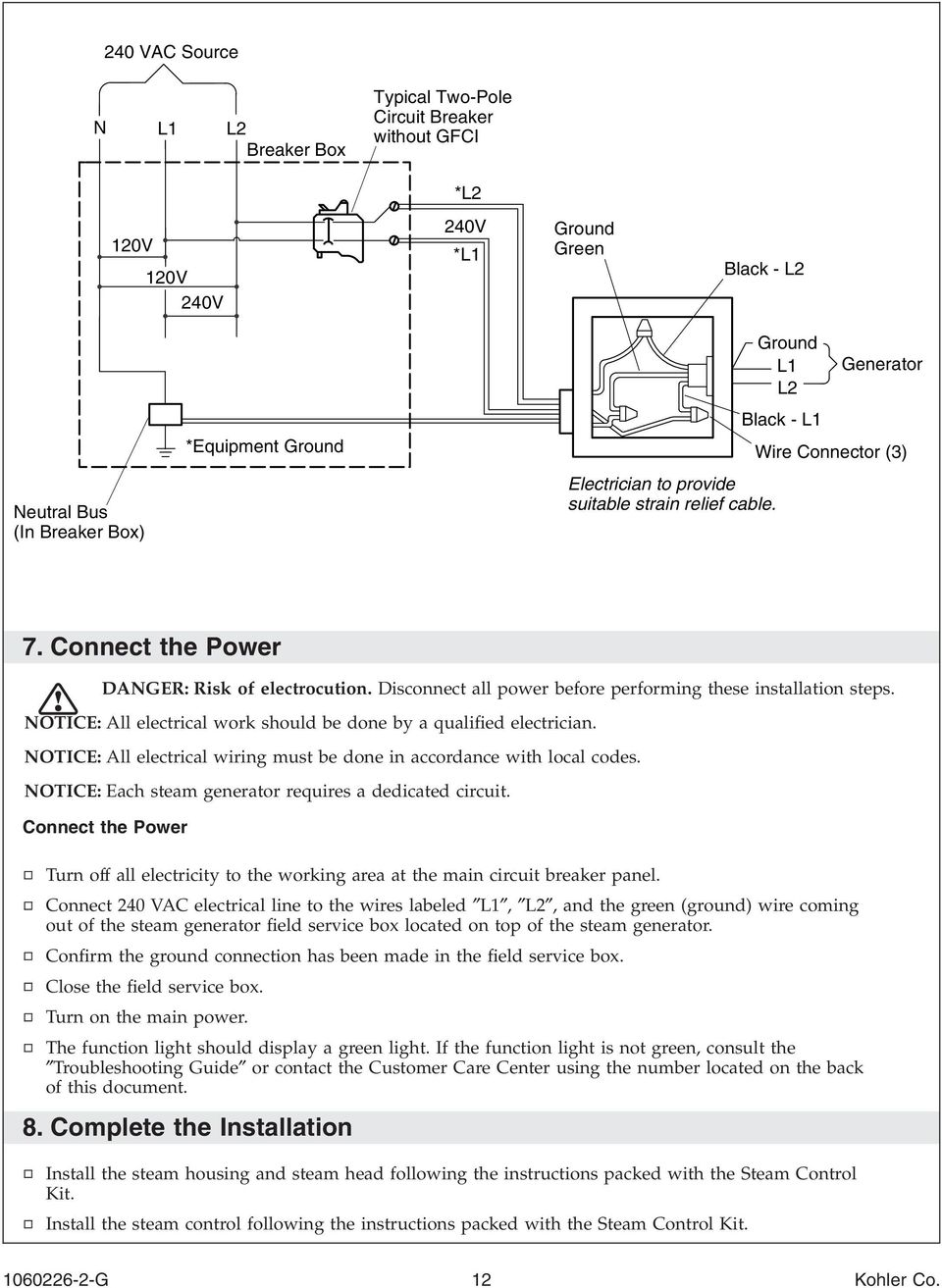 Disconnect all power before performing these installation steps. NOTICE: All electrical work should be done by a qualified electrician.
