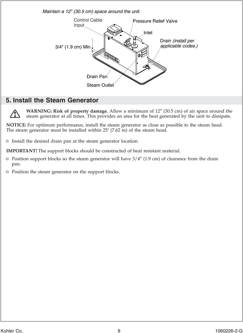 This provides an area for the heat generated by the unit to dissipate. NOTICE: For optimum performance, install the steam generator as close as possible to the steam head.