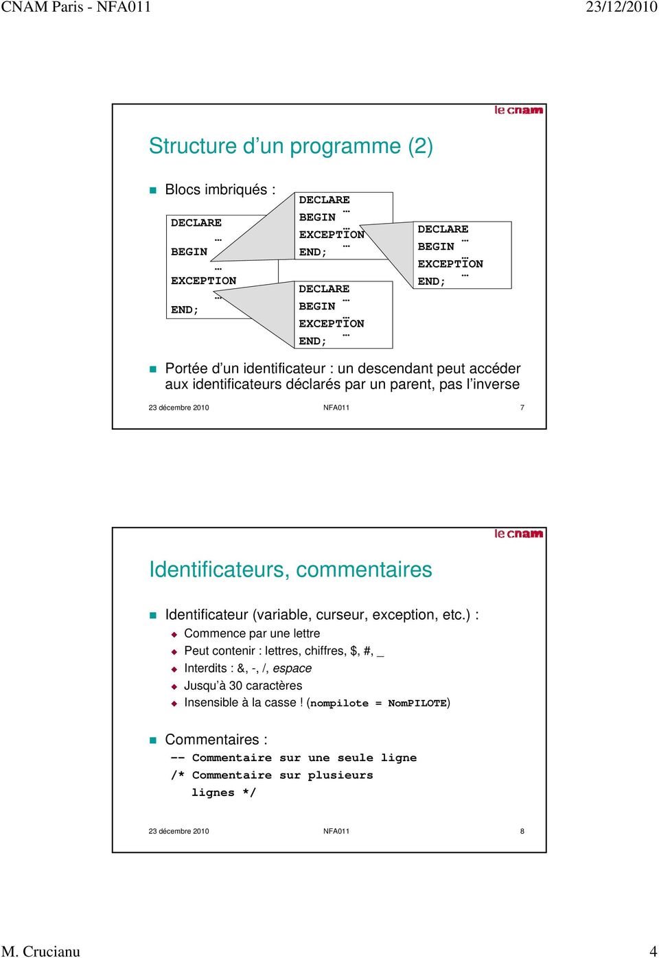 Identificateur (variable, curseur, exception, etc.