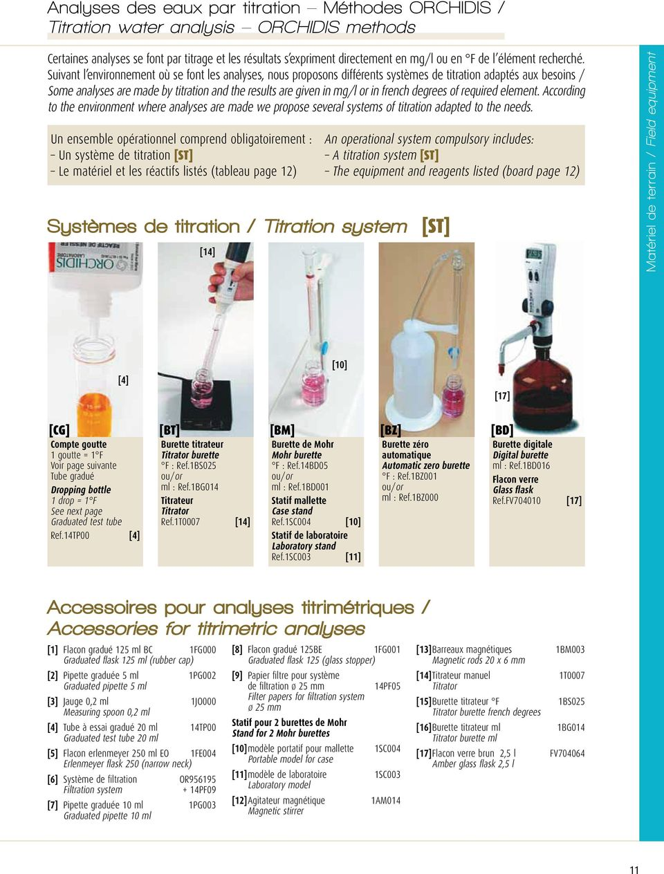 french degrees of required element. According to the environment where analyses are made we propose several systems of titration adapted to the needs.