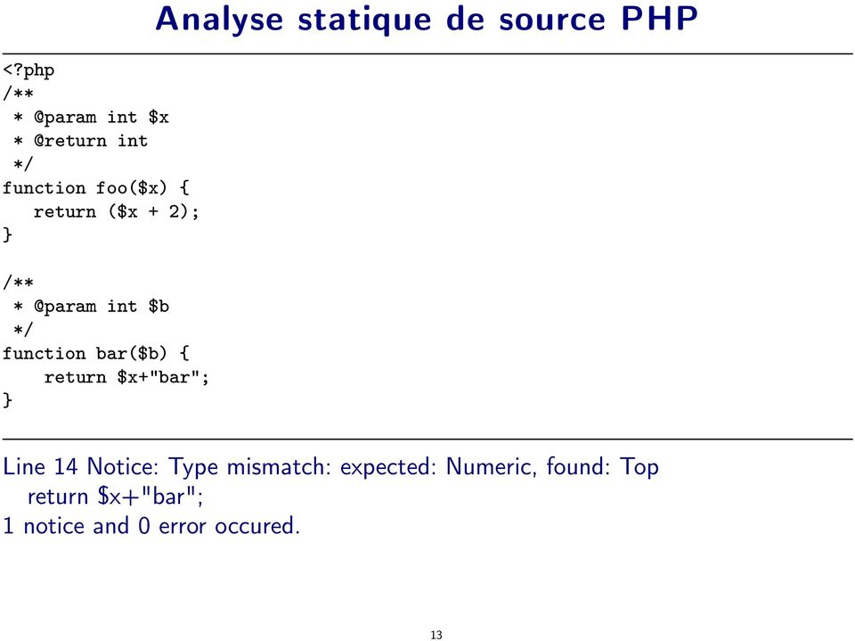 Analyse statique de source PHP Line 14 Notice: Type mismatch: